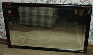 LaBarge/LARGE BEVELED GLASS HANGING MIRROR 40 x 24/BLK. 1.75 WIDE