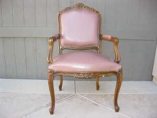 French Provincial Leather Bergere Side Chair   Made in Italy