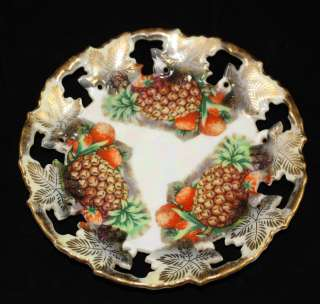 Royal Sealy China Fruit Pineapple Lattice Saucer Plate ~ Japan