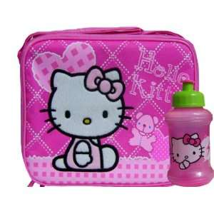 Girls Hello Kitty Pink Lunch Box and Water Bottle Kitchen