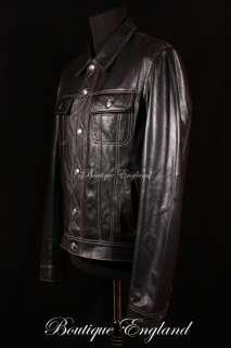 Mens TRUCKER Black Real Soft Leather Western Jacket