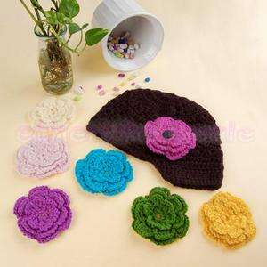 Handmade Baby Girl Crochet Knit Beanie Hat Cap+6 Flower