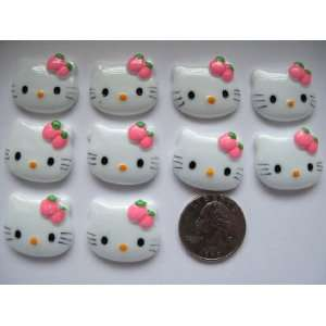 10 Large Resin Cabochon Flat Back Kitty Cat Pink Strawberry Cellphones