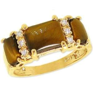 14K Yellow Gold Octagon Three Stone Ring with Diamonds Tigers Eye