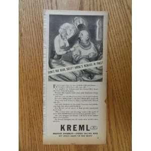 Kreml hair dressing.1937 print ad (woman/man/didnt you
