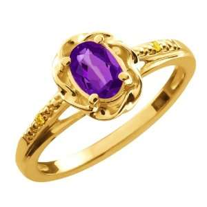 Ct Oval Purple Amethyst Canary Diamond 14K Yellow Gold Ring Jewelry