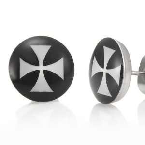 Trendy Stainless Steel Black Crutch Cross Mens Stud Earrings Jewelry