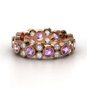 Hopscotch Eternity Band, 14K Rose Gold Ring with Amethyst