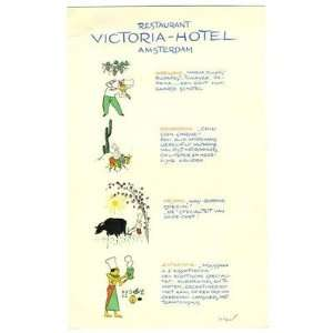 Restaurant Victoria Hotel Amsterdam Comic Menu Everything