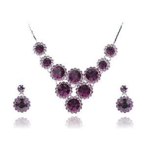 Swarovski Crystal Element Tier Drop Floral Earring Necklace Set