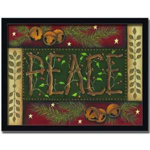 Peace Cabin Lodge Decor Holiday Sign Gift Print Framed