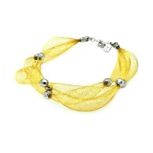 Sterling Silver Italian Bracelets Gold Plated 3 Row Net With 3 Silver