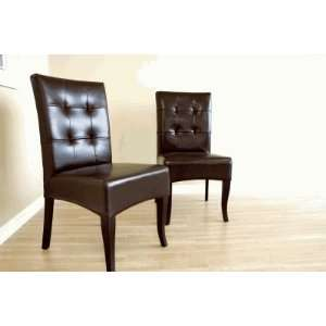 Y 073 J001   Dark Brown Full Leather Dining Chair (Set of
