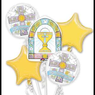 1st Communion Helium Mylar Balloon Bouquet (6)   Click Image to Close