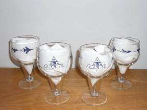 Vtg North American Aviation NAA Stemmed 12 oz Goblets