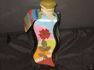 NEW Unique Decorative Sand Art Bottle Flower Red Pink |