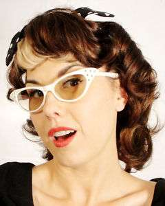 Retro 1950s Pin Up Crystal Cat Eye Clear Glasses White