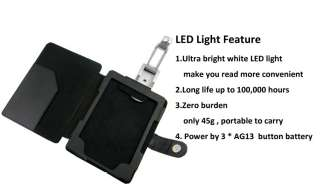 BLACK LEATHER CASE COVER WITH LED READING LIGHT FOR  KINDLE 4