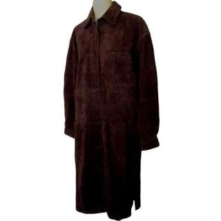 WESTERN Vintage Rawhide Suede Leather Duster Coat Dress M