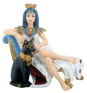 Cleopatra with Bastet Figurine Statue Ancient Egypt Queen Goddess Cat