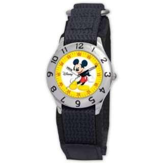 Disney Kids D801S500 Mickey Mouse Time Teacher Black Velcro Strap
