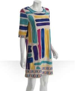 BCBGMAXAZRIA blue stripe print jersey shift dress