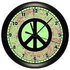 AND PINK PEACE SIGN WALL CLOCK BLACK GIRLS BEDROOM DECOR WALL ART