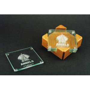 Los Angeles Angels of Anaheim Glass Coaster Set with Alder Wood