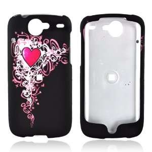 for Google Nexus One Rubber Hard Case PINK HEART BLACK
