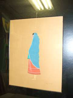 Woody Big Bow Signed Painting Of Indian Native American |