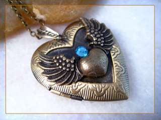 sale sapphire angel wing heart brass locket pendant necklace 6967