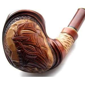 Pear Wood Hand Carved Tobacco Smoking Pipe Ship + Pouch + Free&Fast