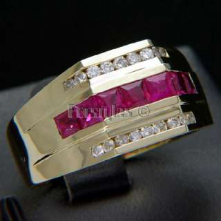 Natural Ruby Diamonds Solid 14k Gold Mens Ring r00045