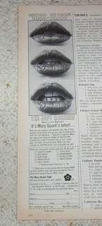 1976 ad Mary Quant cosmetics lips PRINT 1pg Advertising