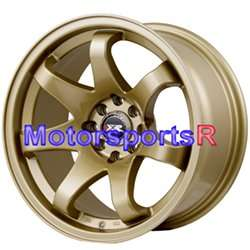 522 Gold Concave Wheels Rims 4x100 90 91 95 00 05 Mazda Miata Stance