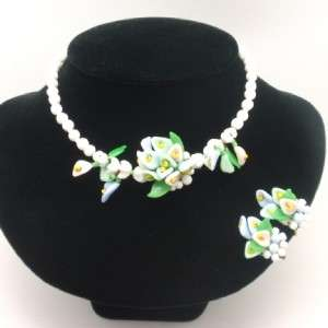 Vintage Glass Beads Set   Necklace & Earrings Flowers