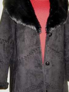 189 COLDWATER CREEK BLACK WOMENS WINTER FAUX FUR COAT LONG JACKET