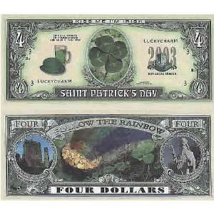Set of 10 Bills ST. Patricks Day Four Dollar Bill Toys & Games