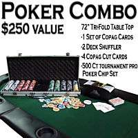 Texas Hold Em Poker Combo Pack w/ Tri Fold Table Top