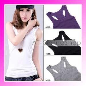Womens Sleeveless Tank Top Cami No Sleeve T Shirt Girl Vest // 10