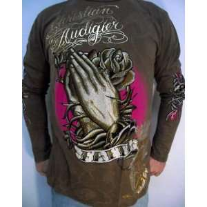 CHRISTIAN AUDIGIER ED HARDY MENS PLATINUM PRAYING HANDS L/S SHIRT NWT