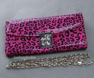 Leopard Flower Buckle Lady Long Wallet Purse Shoulder Hand Party Bag