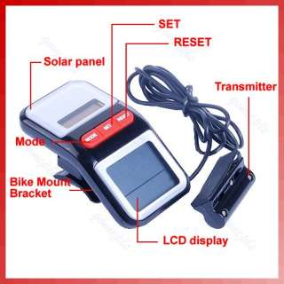LCD Solar Bicycle Odometer Bike Cycle Computer Speedometer