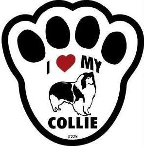 I Love My Collie Dog Pawprint Window Decal w/Suction Cup
