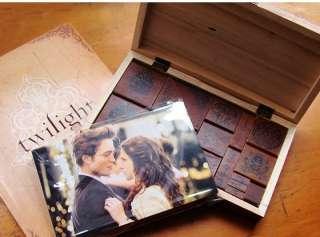 P17 Twilight New Moon Breaking dawn Wood Box Stamp Set 24 Paper