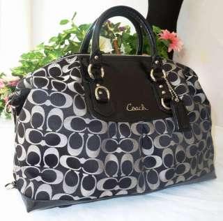 NWT COACH ASHLEY LARGE BLACK/WHITE SIGNATURE SATCHEL BAG 15440