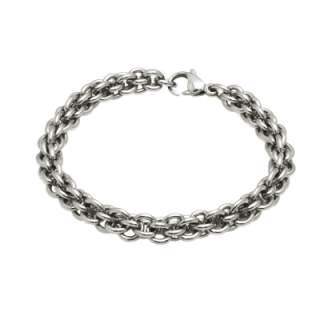 Mens Stainless Steel Linked Chain 8.25 Bracelet