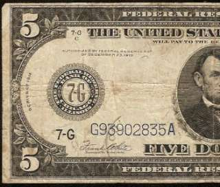 LARGE 1914 $5 DOLLAR BILL FEDERAL RESERVE BLUE SEAL NOTE CHICAGO OLD