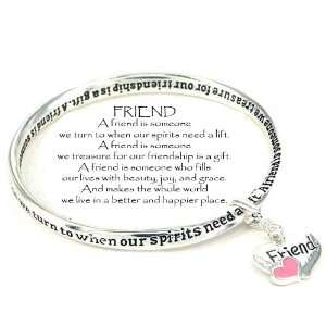 Syms Silver Tone Best Friend Inspirational Dangle Bracelet Jewelry