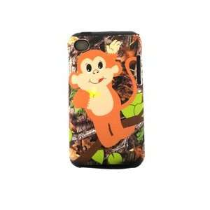iPod Touch 4 Hybrid Case 2in1 Rubber Baby Monkey Eat Banana